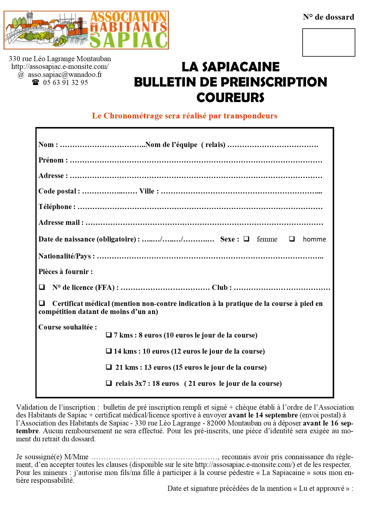 Bulletin preinscription adultes